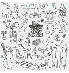 Winteer doodle iconselementsBlack set vector image vector image