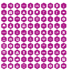 100 government icons hexagon violet vector