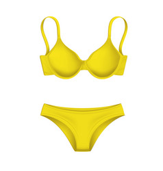 3d yellow bra panties template mockup vector