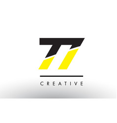 77 black and yellow number logo design vector