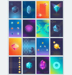 Abstract geometric shapes and shiny crystals set vector