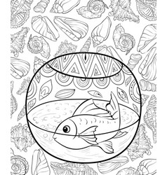 Adult coloring bookpage an acuarium vector