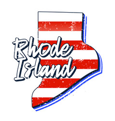 American flag in rhode island state map grunge vector