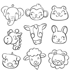 Animal head doodle style vector