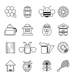 apiary honey icons set outline style vector image