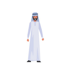 Arab man in white traditional muslim clothes vector