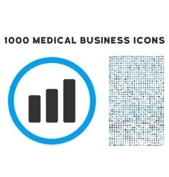 Bar Chart Increase Icon with 1000 Medical Business vector