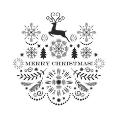 black and white christmas card vector image