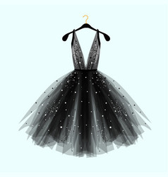 Black fancy dress for special event with decor vector