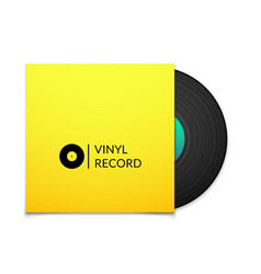 Black vintage vinyl record with blank yellow cover vector