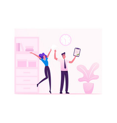 Business colleagues rejoice with hands up vector