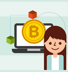 business woman bitcoin cryptocurrency blockchain vector image