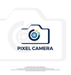 camera icon with pixel lens vector image