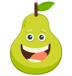 Cartoon pear fruit character vector