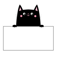 cat black head face silhouette hanging on paper vector image