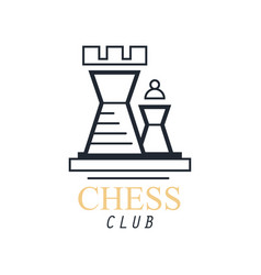 Chess club logo emblem with tower chess design vector