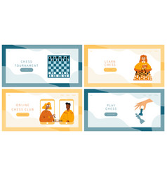 Chess game landing pages set vector