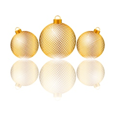 Christmas balls with reflection on white vector image