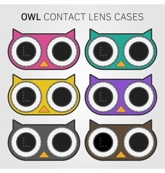 Colorful owl contact lens cases vector