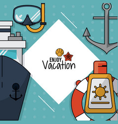 Colorful poster of enjoy vacation with snorkel and vector