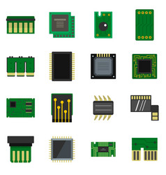 Computer chips icons set in flat style vector