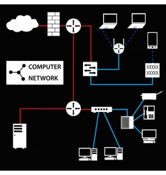 Computer network connections white icons and vector