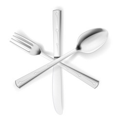 crossed fork spoon and knife on white vector image
