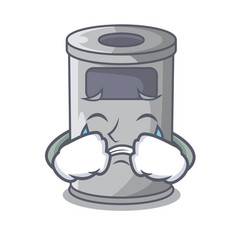 Crying cartoon steel trash can in the room vector
