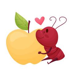 Cute ant character hugging big apple fruit vector