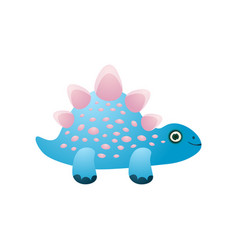 cute blue colorful smiling dinosaur with pink vector image