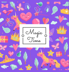 cute cartoon magic and fairytale with vector image