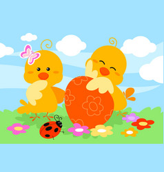 Cute easter chicks and egg vector