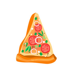 Delicious triangle slice pizza with tomatoes vector