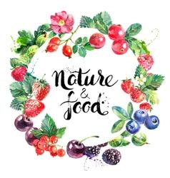 Eco food organic cafe menu design Watercolor hand vector image
