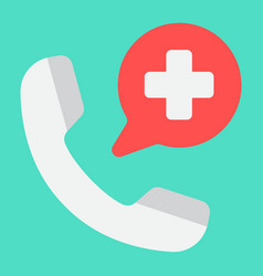 emergency call flat icon medicine and healthcare vector image