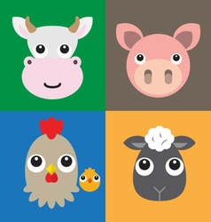 Farm animals head vector