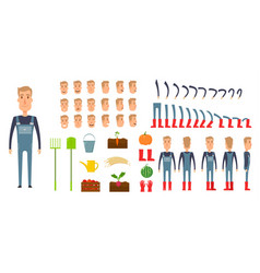 Farmer character creation set icons with vector
