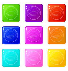 Fitball for fitness icons set 9 color collection vector