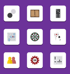 flat icon games set of gomoku dice arrow and vector image