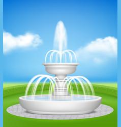 fountain in garden water jet splashes spray vector image