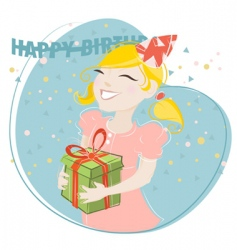 Girl celebrating birthday vector