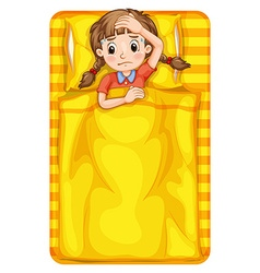Girl feeling sick in bed vector image