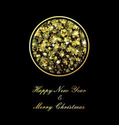 golden christmas ball on black background vector image