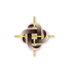 golden cross in intertwined celtic knot logo icon vector image