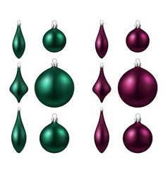 green and magenta isolated christmas balls set vector image