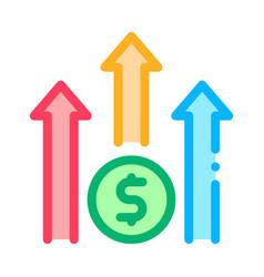 grow arrow dollar icon outline vector image