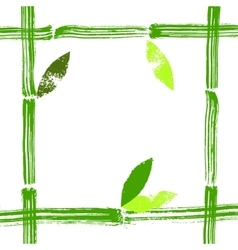 Hand painted bamboo stems and leaves frame vector