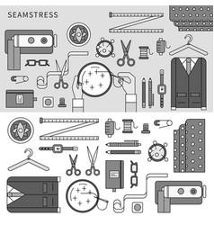 handmade seamstress set line monochrome vector image