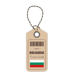 hang tag made in bulgaria with flag icon isolated vector image