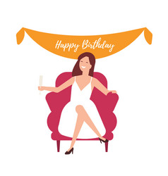 Happy girl celebrating birthday isolated on white vector